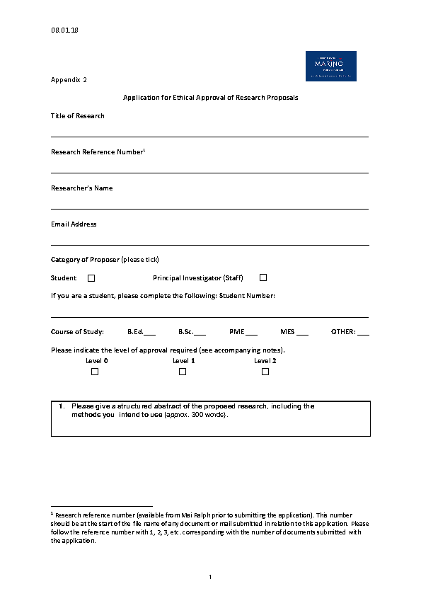 Ethics in Research Application Form (PDF) front page preview